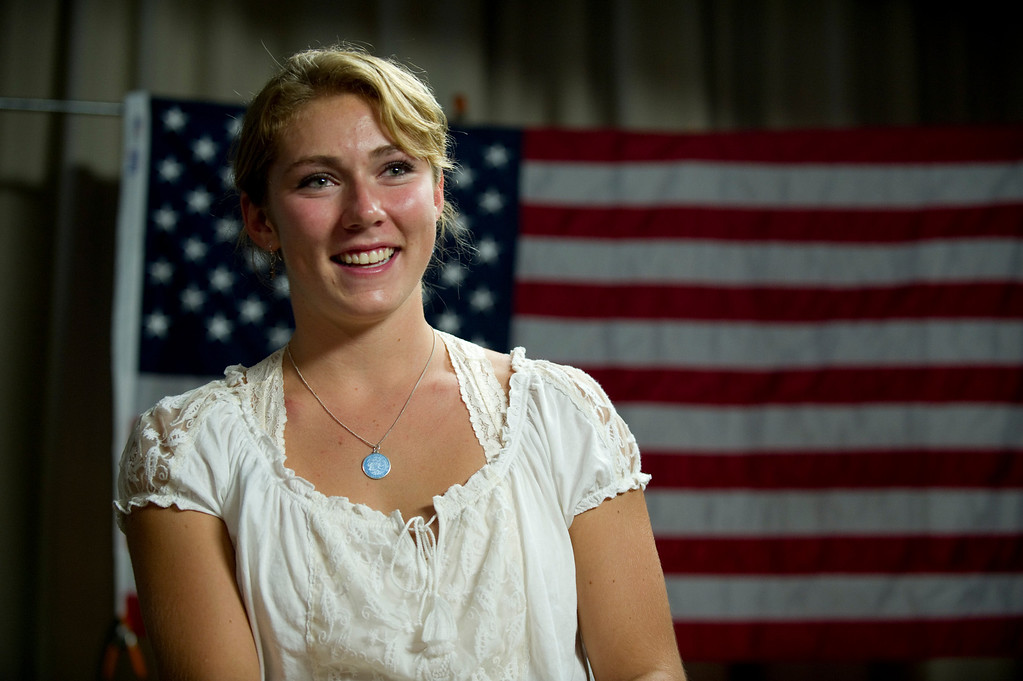. Mikaela Shiffrin listens during an interview with former Olympic Skier Picabo Street in Avon, Co. on July 15, 2013. (Photo By Grant Hindsley/The Denver Post)