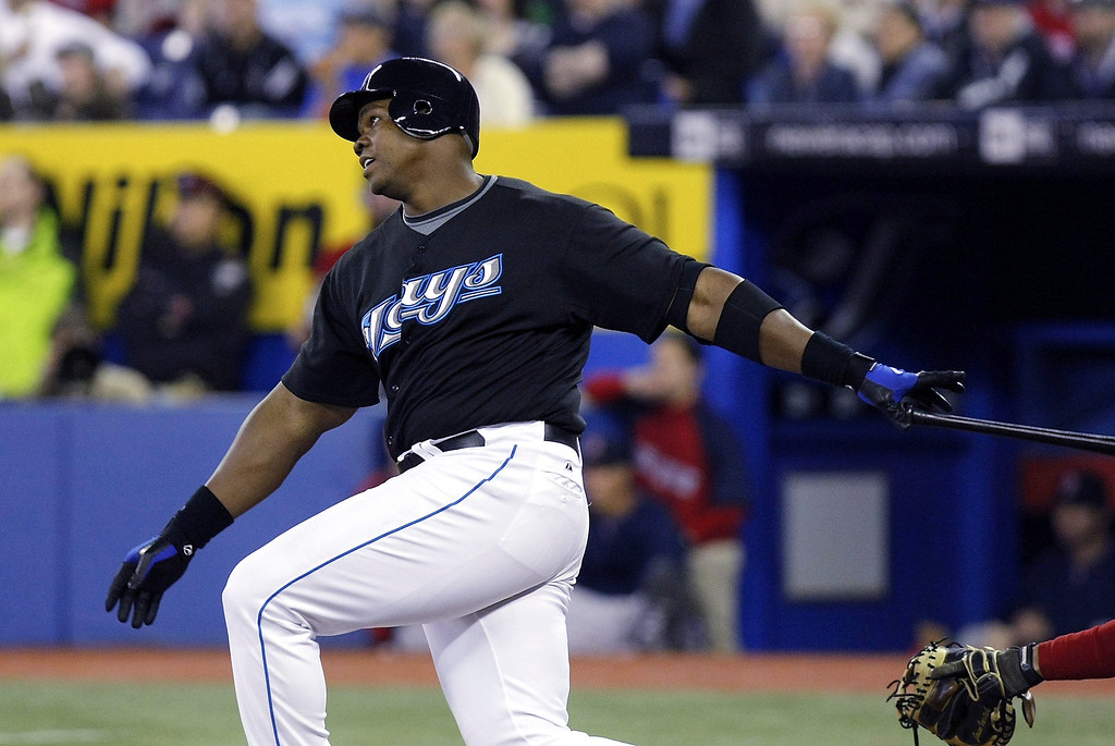 . Frank Thomas #35 of the Toronto Blue Jays hits a grand slam home run against the Boston Red Sox during their MLB game at the Rogers Centre April 6, 2008 in Toronto, Canada. (Photo by Dave Sandford/Getty Images) *** Local Caption *** Frank Thomas