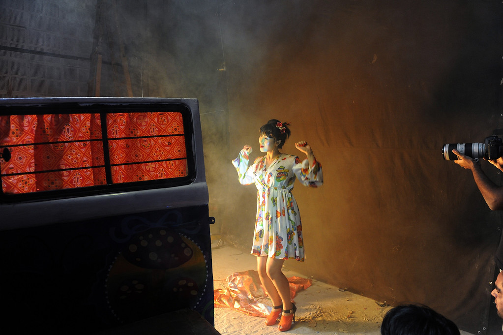 ". Indian actress Vemi Rephung from Nagaland takes part in the shooting of a song sequence on the sets of the forthcoming Bollywood movie - ""Go Goa Gone\"" at Filmcity in Mumbai on April 8, 2013. India\'s  One hundred years after the screening of a black-and-white silent film, India\'s brash, song-and-dance-laden Bollywood film industry celebrates its centenary later this week. The milestone will be marked with the release of \""Bombay Talkies\"", made up of short commemorative films by four leading directors, while India will be honoured as \""guest country\"" at next month\'s Cannes festival, a century since India\'s first silent feature film \""Raja Harishchandra\"" opened in Mumbai in 1913. INDRANIL MUKHERJEE/AFP/Getty Images"