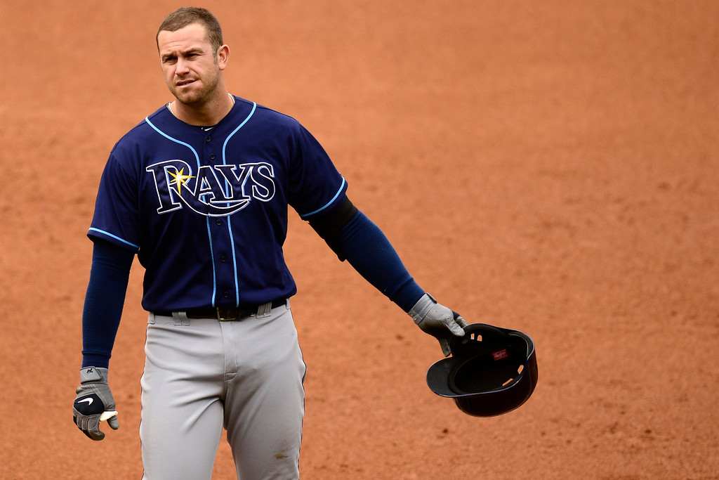 . DENVER, CO - MAY 5: Evan Longoria (3) of the Tampa Bay Rays reacts to hitting into a double play against the Colorado Rockies during the Rockies\' 8-3 loss.   (Photo by AAron Ontiveroz/The Denver Post)
