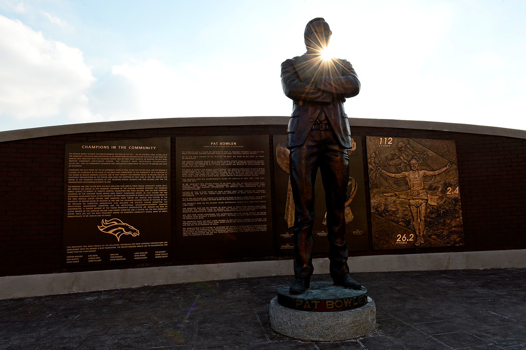 . This is the statue of Broncos owner Pat Bowlen at the Ring of Fame plaza for the Broncos outside of Sports Authority Field at Migh High in Denver, Colorado on December 31, 2015. (Photo by Helen H. Richardson/The Denver Post)