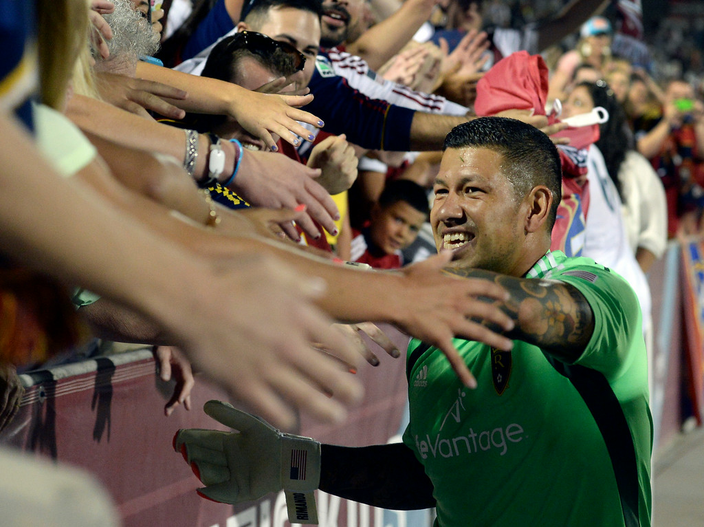 . COMMERCE CITY, CO - AUGUST 1: Salt Lake goalie Nick Rimando celebrated the win with fans after the game. Real Salt Lake defeated the Colorado Rapids 1-0 at Dick\'s Sporting Goods Park Saturday night, August 1, 2014.  Photo by Karl Gehring/The Denver Post