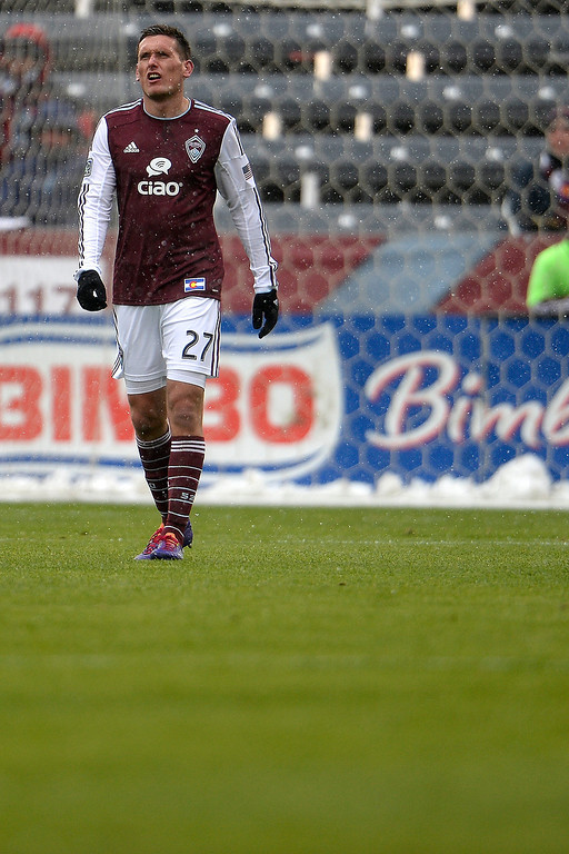 . Shane O\'Neill (27) of Colorado Rapids reacts to a 1-0 goal by Erick Torres (9) of Chivas USA during the second half. Chivas USA defeated the Colorado Rapids 3-1 on Sunday, May 11, 2014. (Photo by AAron Ontiveroz/The Denver Post)