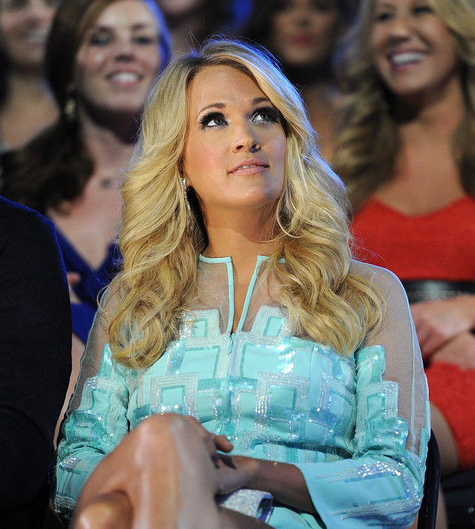 . Carrie Underwood appears in the audience at the 2013 CMT Music Awards at Bridgestone Arena on Wednesday, June 5, 2013, in Nashville, Tenn. (Photo by Frank Micelotta/Invision/AP)