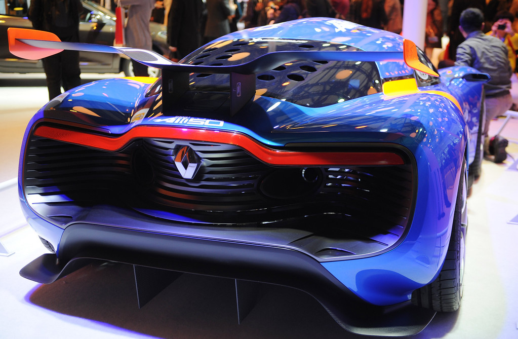 . This photo taken on April 20, 2013 shows the back of a Renault concept car on their stand on media day at the Shanghai auto show. The Shanghai auto show, which opens to the public on April 21, is expected to attract more than 800,000 visitors over the course of nine days.   PETER PARKS/AFP/Getty Images