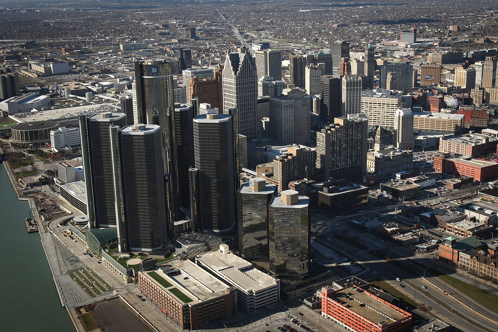 . FILE - JULY 18: The City of Detroit has filed for Chapter 9 bankruptcy protection. DETROIT - NOVEMBER 21:  The General Motors (GM) world headquarters building stands tallest amidst the Renaissance Center in the skyline of city\'s downtown on November 21, 2008 in Detroit, Michigan. As car and truck sales have plummeted across the country, large inventories are building at dealerships and factories. The Big Three U.S. automakers, General Motors (GM), Ford Motor Co. and Chrysler LLC, failed after appearing this week in Washington to receive money after asking the government for federal funds to curb the decline of the American auto industry. The city of Detroit, home to the Big Three, would be hardest hit if the government allows these auto makers to fall into bankruptcy.   (Photo by Spencer Platt/Getty Images)