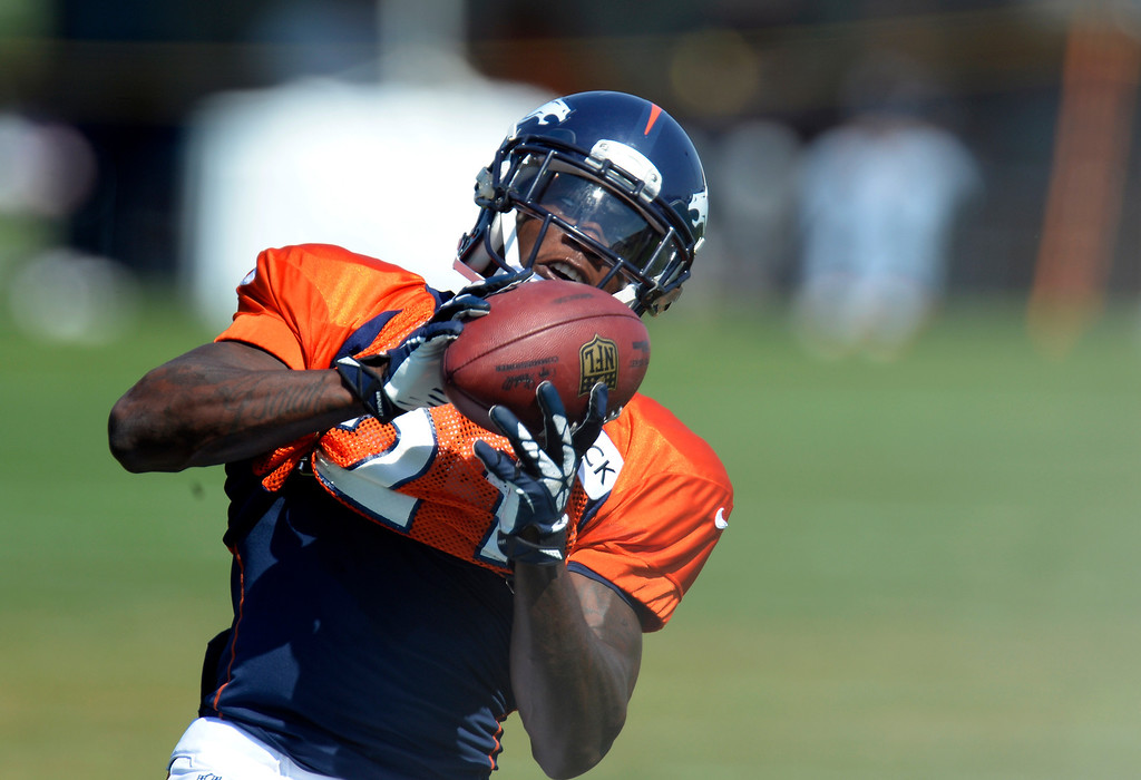 . Denver Broncos running back Ronnie Hillman (21) catches a pass during practice August 20, 2013 at Dove Valley (Photo by John Leyba/The Denver Post)