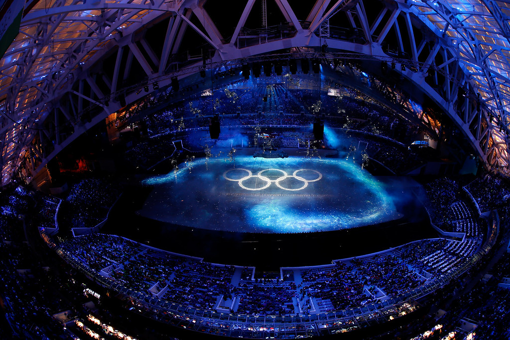 . A general view of atmosphere over the Opening Ceremony of the Sochi 2014 Winter Olympics at Fisht Olympic Stadium on February 7, 2014 in Sochi, Russia.  (Photo by Richard Heathcote/Getty Images)