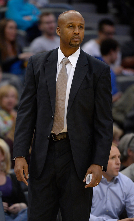 . Denver Nuggets head coach Brian Shaw looks on during the first quarter against the Phoenix Suns October 23, 2013 at Pepsi Center. (Photo By John Leyba/The Denver Post)