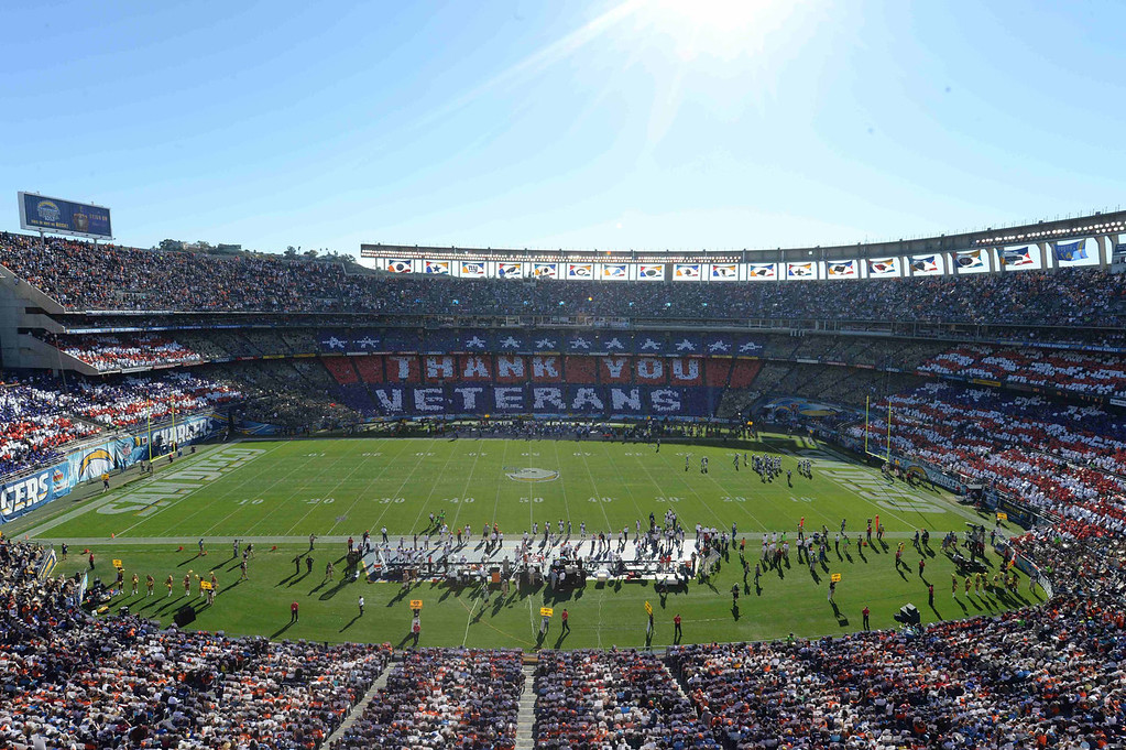 . An overall inside view of Qualcomm Stadium as fans honor military and veterans during an NFL football game between the Denver Broncos and the San Diego Chargers , Sunday, November 10, 2013 in San Diego, Calif. 50,00 cards were provided to fans by USAA, the official military appreciation sponsor of the NFL. (David Drapkin/AP images for USAA)