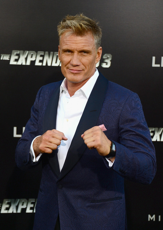 """. Actor Dolph Lundgren attends Lionsgate Films\' \""""The Expendables 3\"""" premiere at TCL Chinese Theatre on August 11, 2014 in Hollywood, California.  (Photo by Frazer Harrison/Getty Images)"""