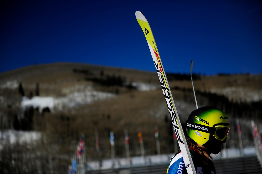 . Switzerland\'s Priska Nufer finishes her run during practice for the Women\'s World Cup downhill during the Audi FIS Beaver Creek World Cup near Avon, Colorado. (Photo by AAron Ontiveroz/The Denver Post)