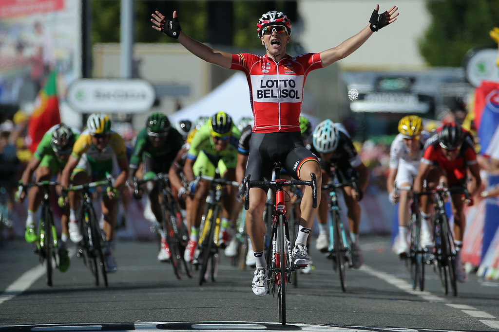 . Tony Gallopin of France and Lotto Belisol celebrates as his solo breakaway eludes the peloton in the final meters to win the eleventh stage of the 2014 Tour de France, a 188km stage between Besancon and Oyonnax, on July 16, 2014 in Oyonnax, France.  (Photo by Doug Pensinger/Getty Images)