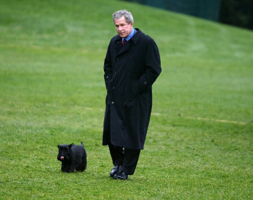 . President Bush walks with his dog Barney after returning from spending the Easter holiday at his Texas ranch on the South Lawn of the White House Monday, April 12, 2004 in Washington. Bush met with Egypt\'s President Hosni Mubarak earlier in the day. (AP Photo/Charles Dharapak)