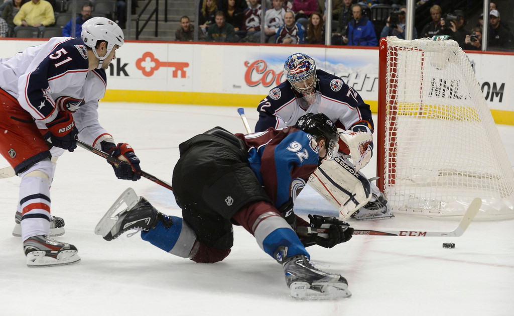 . DENVER, CO. - JANUARY 24: Columbus Blue Jackets defenseman Fedor Tyutin (51) trips up Colorado Avalanche left wing Gabriel Landeskog (92) as he tries to get off a shot on Columbus Blue Jackets goalie Sergei Bobrovsky (72) during the third period January 24, 2013 at Pepsi Center. The Colorado Avalanche defeated the  Columbus Blue Jackets 4-0.   (Photo By John Leyba / The Denver Post)