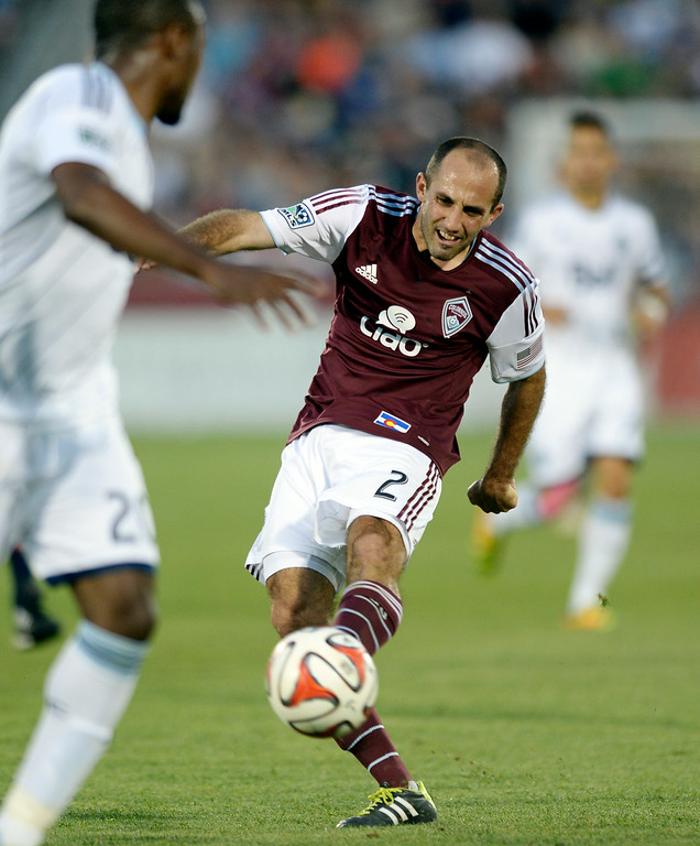 . COMMERCE CITY, CO - JUNE 28: Colorado midfielder Nick LaBrocca took a shot in the second half. The Colorado Rapids defeated the Vancouver Whitecaps 2-0 at Dick\'s Sporting Goods Park Saturday night, June 28, 2014.  Photo by Karl Gehring/The Denver Post