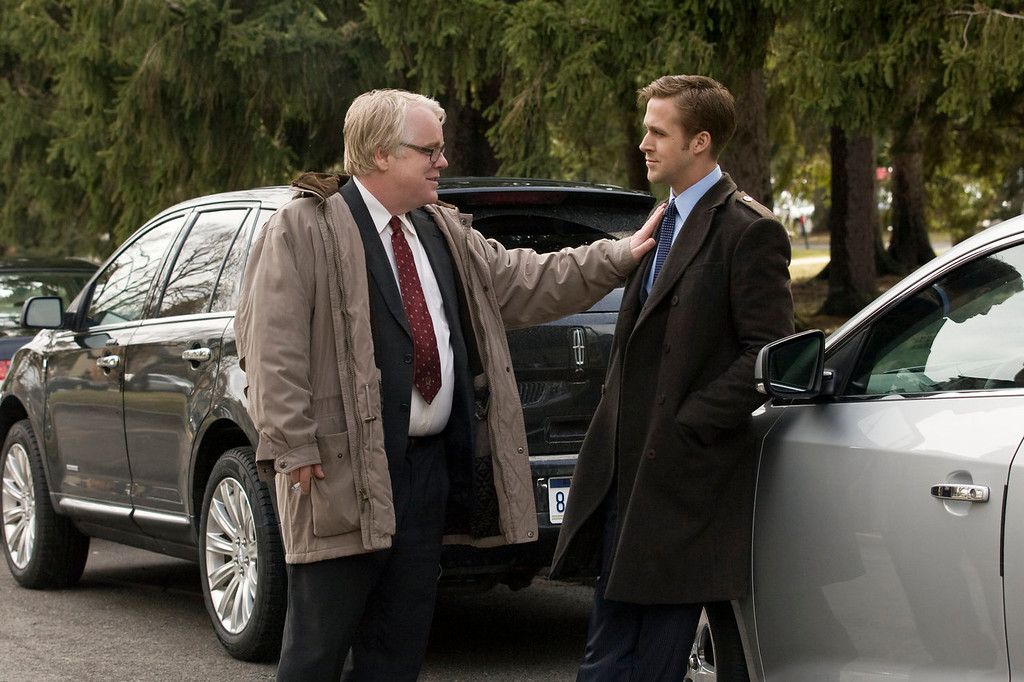 ". In this image released by Colombia Pictures, Philip Seymour Hoffman, left, and Ryan Gosling  are shown in a scene from ""Ides of March.\"" Police say Phillip Seymour Hoffman was found dead in his New York City apartment Sunday, Feb. 2, 2014. He was 46. (AP Photo/Columbia Pictures - Sony, Saeed Adyani, File)"