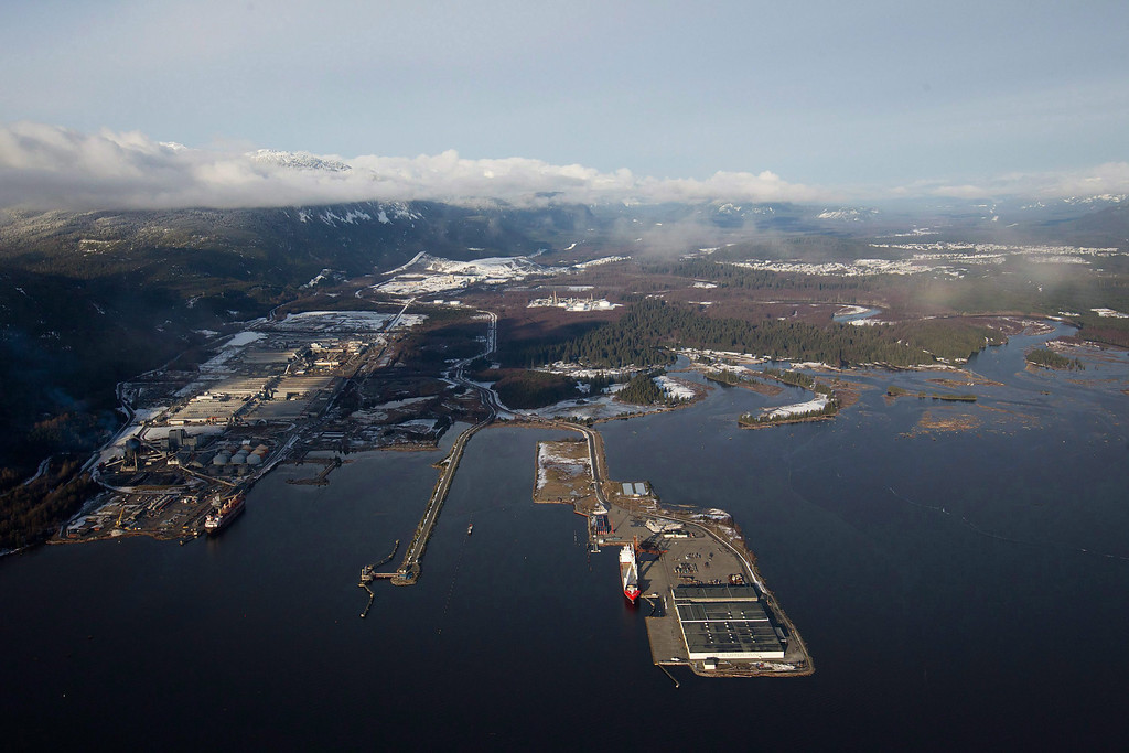 . Douglas Channel, the proposed termination point for an oil pipeline in the Enbridge Northern Gateway Project, is pictured in an aerial view in Kitimat, B.C., on Jan.10, 2012.  (AP Photo/The Canadian Press, Darryl Dyck)