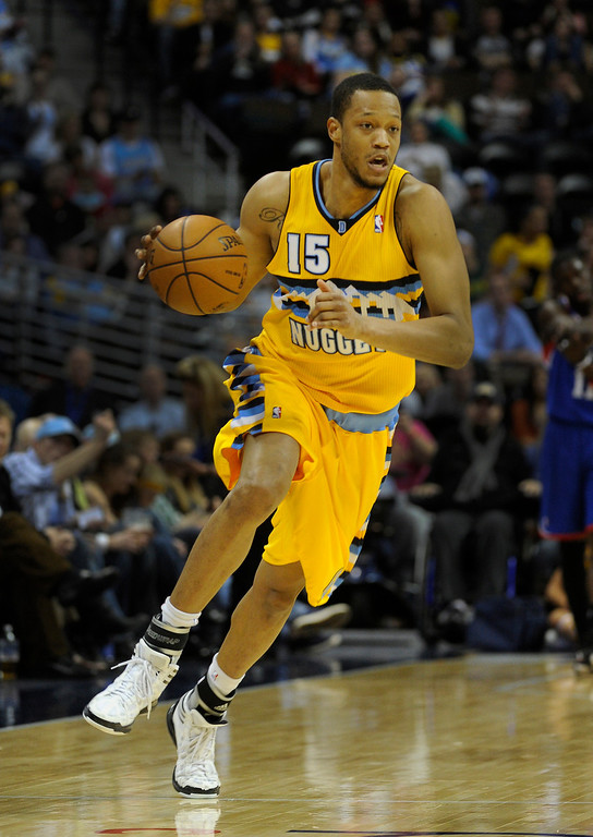 . DENVER, CO. - MARCH 21: Anthony Randolph (15) of the Denver Nuggets brought the ball up court in the second half. The Denver Nuggets defeated the Philadelphia 76ers 101-100 Thursday night, March 21, 2013 at the Pepsi Center. The Nuggets are on a 14-game record winning streak that is a team record. (Photo By Karl Gehring/The Denver Post)