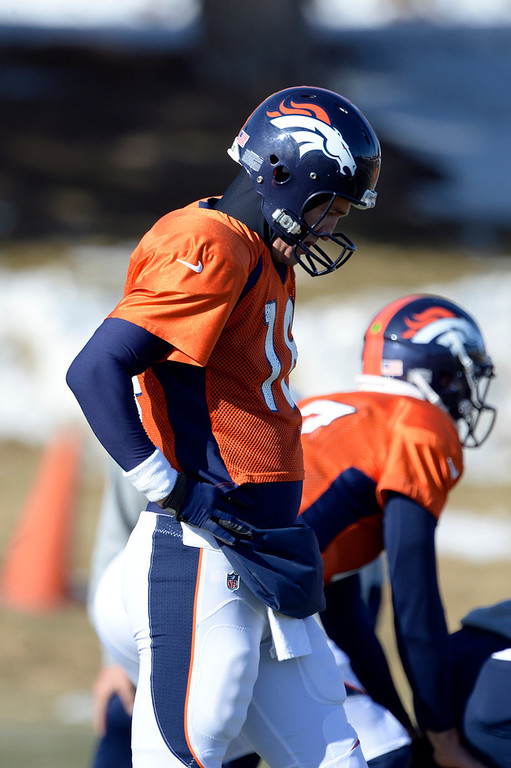 . Denver Broncos quarterback Peyton Manning (18) during drills at practice January 8, 2014 at Dove Valley. The Denver Broncos are preparing for their Divisional Game against the San Diego Chargers at Sports Authority Field. (Photo by John Leyba/The Denver Post)