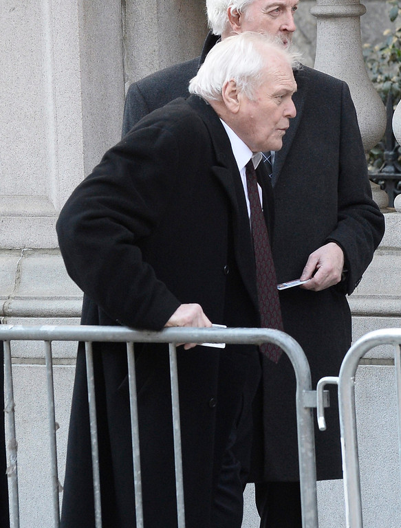 . US Actor Brian Dennehy arrives for the Funeral Mass for US Actor Phillip Seymour Hoffman at St Ignatius Church in New York, New York, USA 07 February 2014. Hoffman, 46, died 02 February from a suspected drug overdose.  EPA/ANDREW GOMBERT