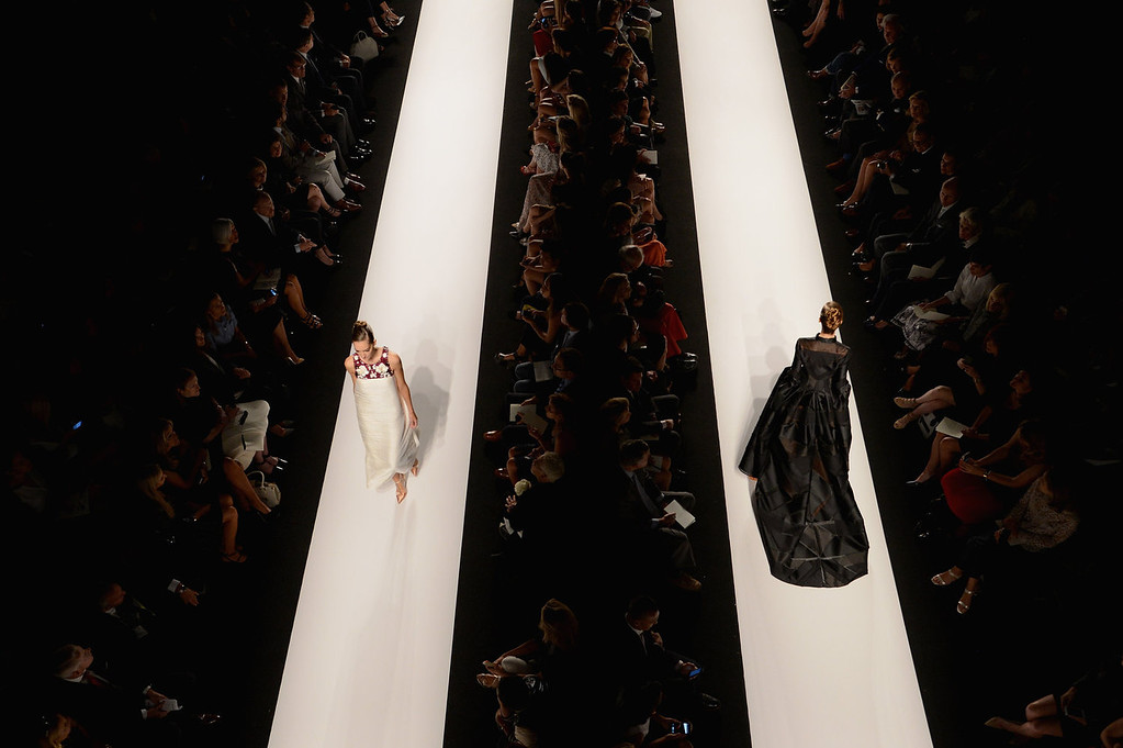 . Models walk the runway at the Carolina Herrera fashoin show during Mercedes-Benz Fashion Week Spring 2014 at Lincoln Center for the Performing Arts on September 9, 2013 in New York City.  (Photo by Karl Walter/Getty Images for Mercedes-Benz Fashion Week Spring 2014)