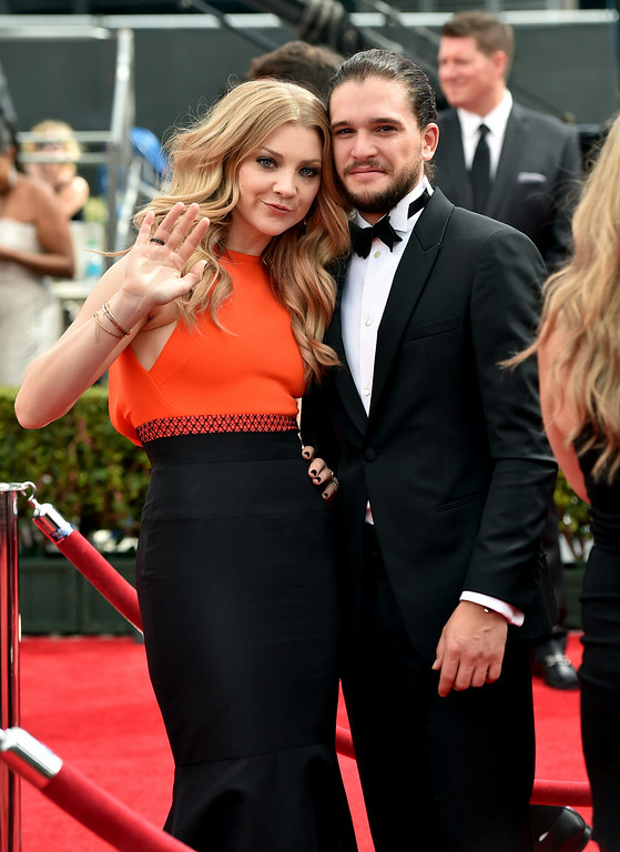 . Actors Natalie Dormer (L) and Kit Harington attend the 66th Annual Primetime Emmy Awards held at the Nokia Theatre L.A. Live on August 25, 2014 in Los Angeles, California.  (Photo by Alberto E. Rodriguez/Getty Images for Variety)