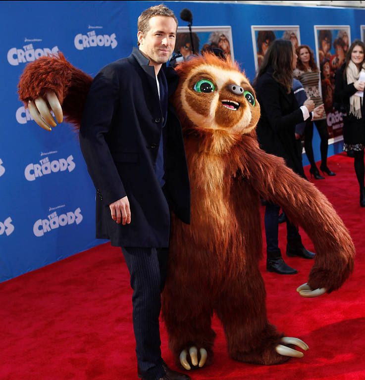 """. Cast member Ryan Reynolds arrives for the premiere of the film \""""The Croods\"""" in New York, March 10, 2013.  REUTERS/Carlo Allegri"""