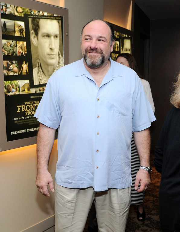 """. James Gandolfini attends \""""Which Way Is The Frontline From Here?\"""" New York Premiere at HBO Theater on April 10, 2013 in New York City.  (Photo by Ilya S. Savenok/Getty Images)"""