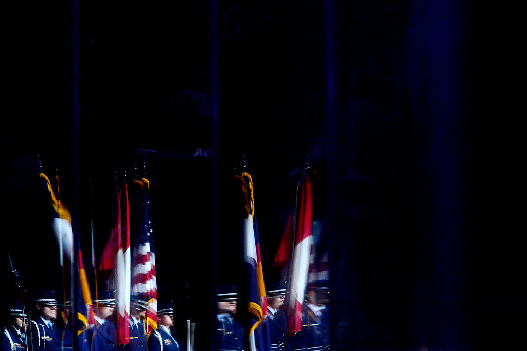 . DENVER, CO - MARCH 24: The color guard presents the flags before the first period of action. Colorado Avalanche versus the Vancouver Canucks at the Pepsi Center. (Photo by AAron Ontiveroz/The Denver Post)