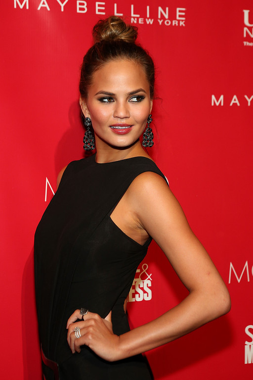. Model Chrissy Teigen attends the 2014 Shape & Men\'s Fitness Super Bowl Party at Cipriani 42nd Street on January 31, 2014 in New York City. (Photo by Tyler Kaufman/Getty Images)
