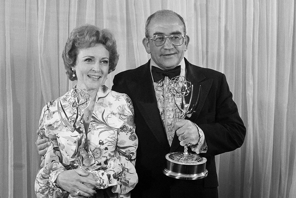 . Betty White and Ed Asner hold Emmys they won in Los Angeles in May 1975. (AP Photo)