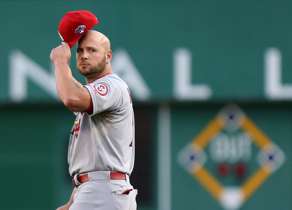 . Matt Holliday of the St. Louis Cardinals walks off the field after popping out with bases loaded during the third inning in Game 3 of the National League Division Series against the Pittsburgh Pirates at PNC Park in Pittsburgh, Pennsylvania, on Sunday, October 6, 2013. (Huy Mach/St. Louis Post-Dispatch/MCT)
