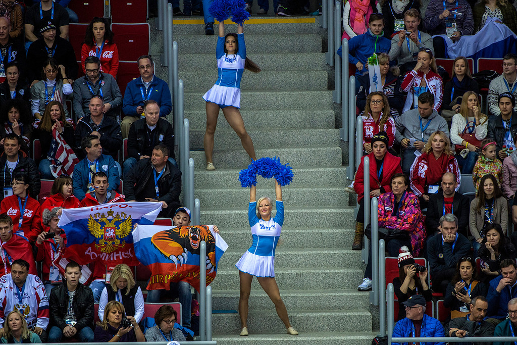 . SOCHI, RUSSIA  - JANUARY 15: Russian cheerleaders dance during the game at Bolshoy Ice Dome during the 2014 Sochi Olympics Saturday February 15, 2014.  The United States men\'s hockey team defeated Russia with a 3-2 overtime victory. (Photo by Chris Detrick/The Salt Lake Tribune)