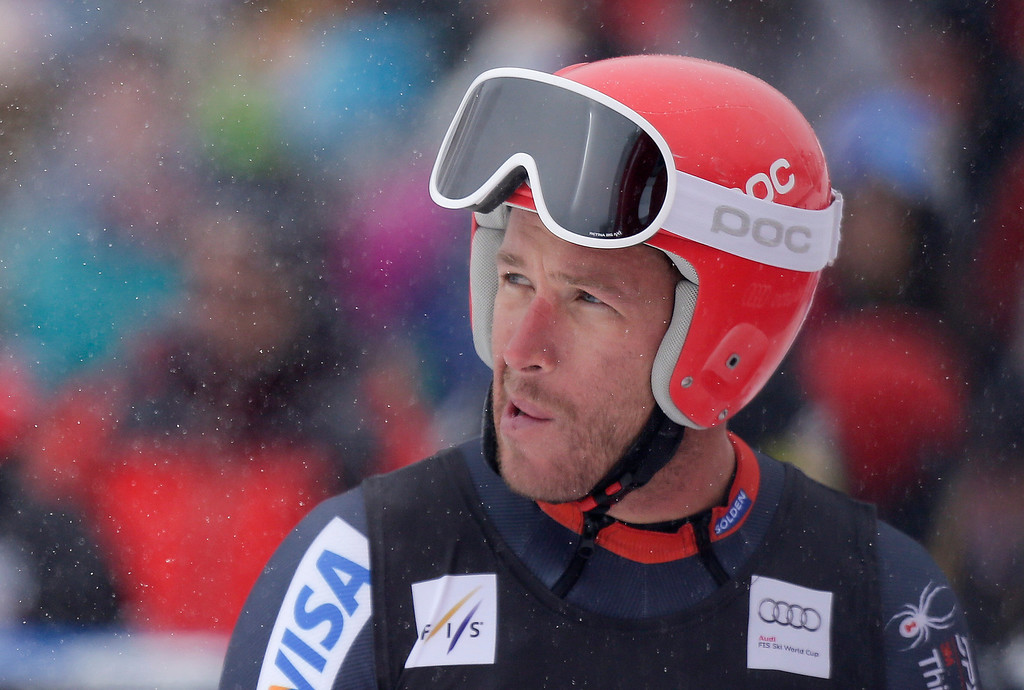 . Bode Miller watches the video board after finishing his run during the men\'s World Cup downhill skiing event, Friday, Dec. 6, 2013, in Beaver Creek, Colo. (AP Photo/Julie Jacobson)
