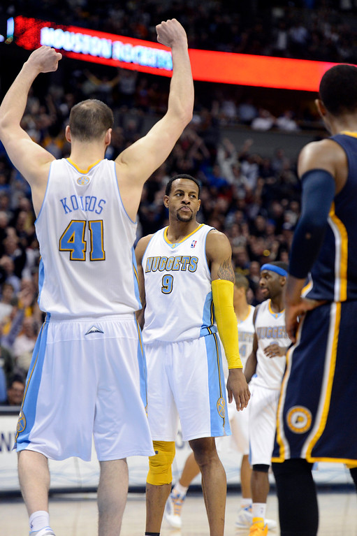 . DENVER, CO. - JANUARY 28:  Denver Nuggets center Kosta Koufos (41) celebrates Denver Nuggets shooting guard Andre Iguodala (9) game winning free throw with .04 seconds left in the fourth quarter January 28, 2013 at Pepsi Center. The Denver Nuggets defeated the Indiana Pacers 102-101 in NBA Action. (Photo By John Leyba / The Denver Post)