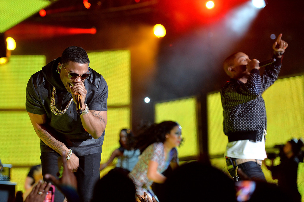 . Rapper Nelly (L) and Musician Pharrell Williams perform onstage at the 63rd NBA All-Star Game 2014 at the Smoothie King Center on February 16, 2014 in New Orleans, Louisiana.  (Photo by Mike Coppola/Getty Images)