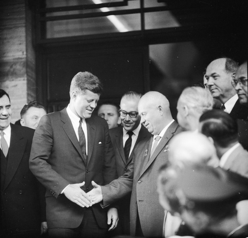 . Nikita Khrushchev, the first secretary of the Soviet Communist Party, and Kennedy shake hands at the U.S. Embassy in Vienna while meeting for talks.    Ron Case, Getty Images