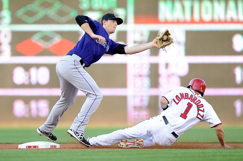 . DJ LeMahieu #9 of the Colorado Rockies tags out Steve Lombardozzi #1 of the Washington Nationals trying to steal second base in the second inning at Nationals Park on June 21, 2013 in Washington, DC.  (Photo by Greg Fiume/Getty Images)