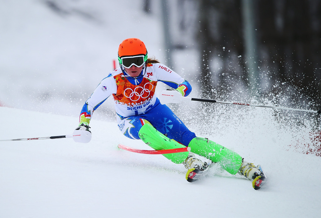 . Marusa Ferk of Slovenia in action during the Alpine Skiing Women\'s Super Combined Slalom on day 3 of the Sochi 2014 Winter Olympics at Rosa Khutor Alpine Center on February 10, 2014 in Sochi, Russia.  (Photo by Clive Rose/Getty Images)