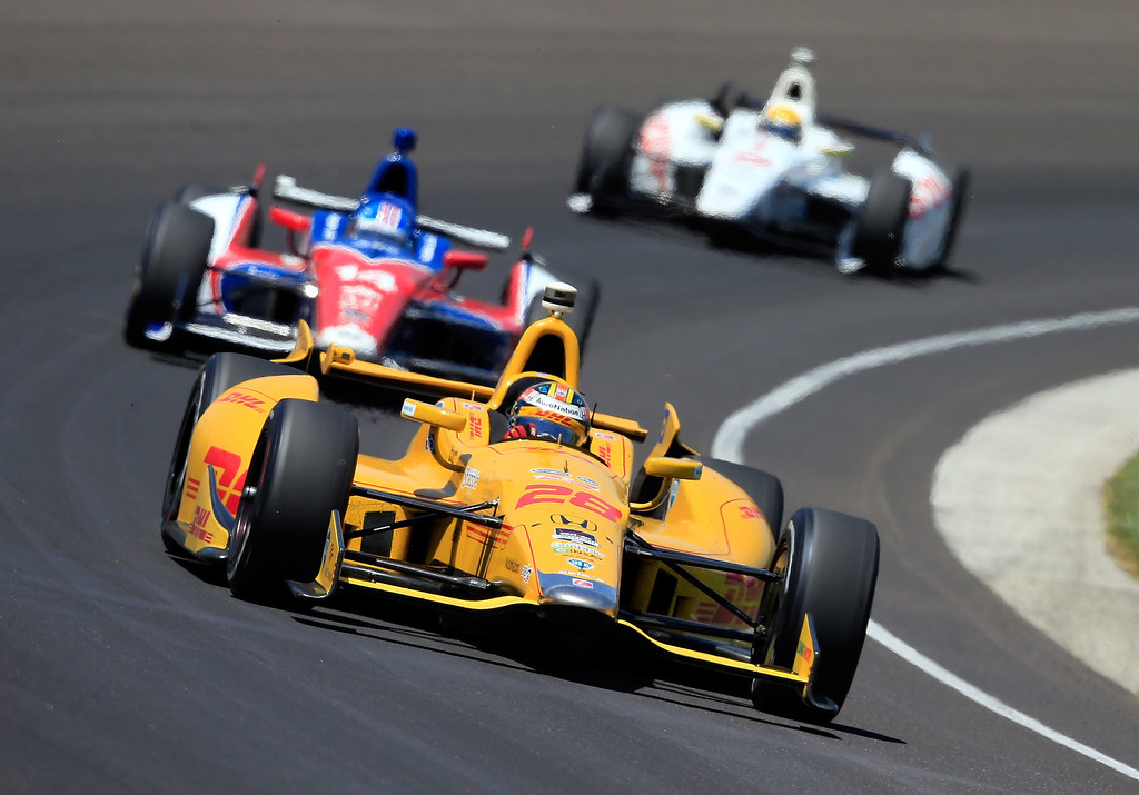 . Ryan Hunter-Reay, driver of the #28 Andretti Autosport DHL Honda, in action during the 98th running of the Indianapolis 500 Mile Race at Indianapolis Motorspeedway on May 25, 2014 in Indianapolis, Indiana.  (Photo by Jamie Squire/Getty Images)