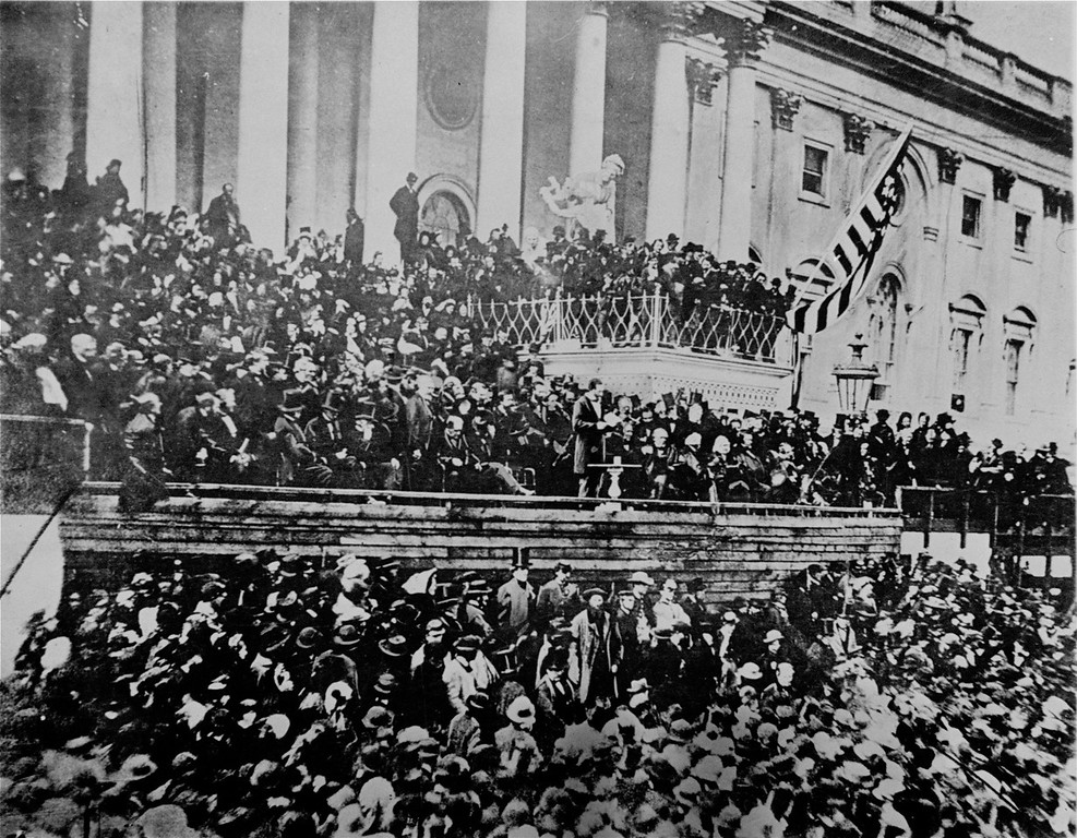 . A scene in front of the Capitol during Lincoln\'s second inauguration, 1865, just six weeks before his assassination. (AP Photo)