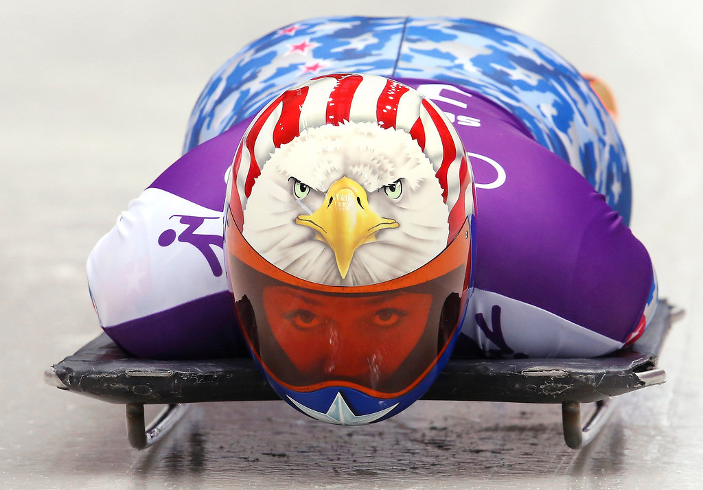 . SOCHI, RUSSIA - FEBRUARY 10:  Katie Uhlaender of USA prepares in action during a Women\'s Skeleton training session on Day 3 of the Sochi 2014 Winter Olympics at the Sanki Sliding Center on February 10, 2014 in Sochi, Russia.  (Photo by Alex Livesey/Getty Images)