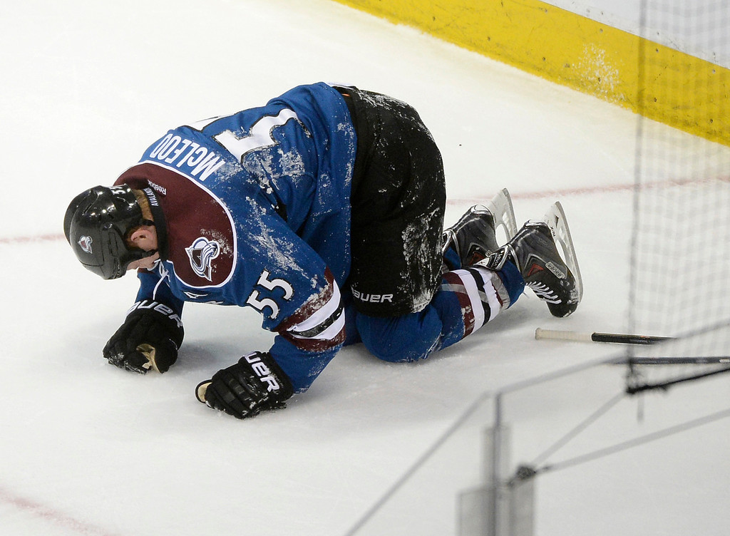 . Cody McLeod went to the ice with what appeared to be a knee injury in the second period.  (Photo by Karl Gehring/The Denver Post)