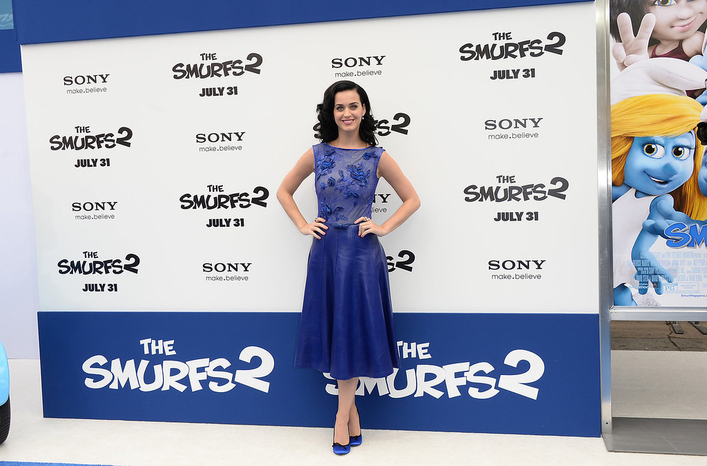 """. Actress/Singer Katy Perry attends the premiere of Columbia Pictures\' \""""Smurfs 2\"""" at Regency Village Theatre on July 28, 2013 in Westwood, California.  (Photo by Jason Merritt/Getty Images)"""