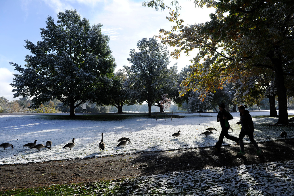 . Joggers enjoy a brisk run in fresh snow along a jogging path on the south side of Washington Park enjoying a fresh layer of snow and geese Friday morning, October 18, 2013.  (Photo By Andy Cross/The Denver Post)