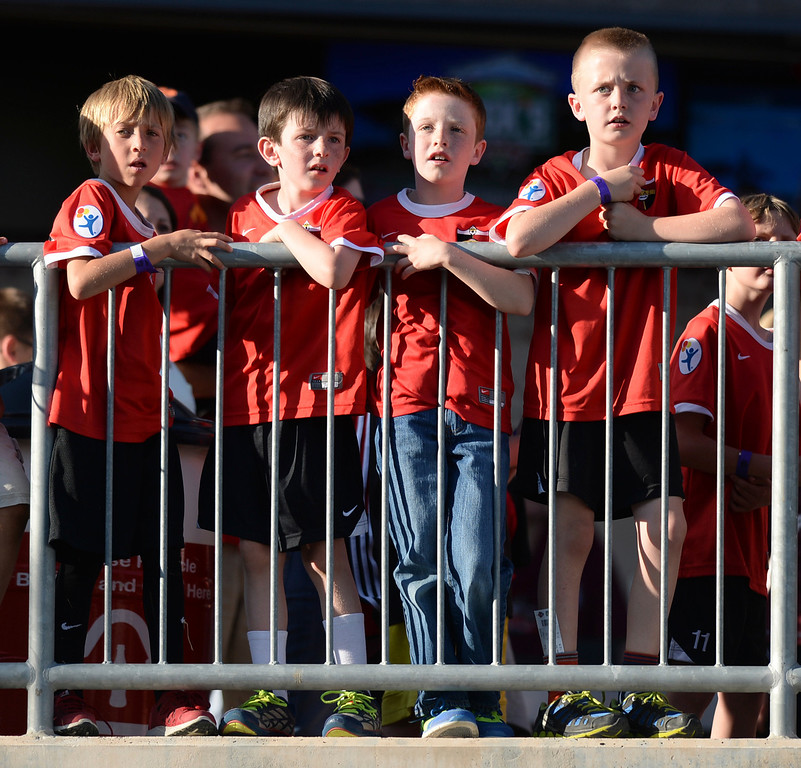 . COMMERCE CITY, CO - MAY 3:  Young soccer fans lined up to watch the teams take the field for warmups Saturday night. The Colorado Rapids hosted the Los Angeles Galaxy Saturday night, May 3, 2014 at Dick\'s Sporting Good Park. (Photo by Karl Gehring/The Denver Post)