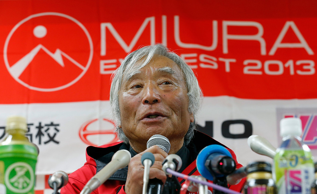 . Yuichiro Miura, an 80-year-old Japanese mountaineer who became the oldest person to reach the top of Mount Everest last Thursday, speaks during a press conference at CLARK Memorial International High School in Tokyo, Wednesday, May 29, 2013. Miura said he almost died during his descent and does not plan another climb of the worldís highest peak, though he hopes to do plenty of skiing.  (AP Photo/Shizuo Kambayashi)