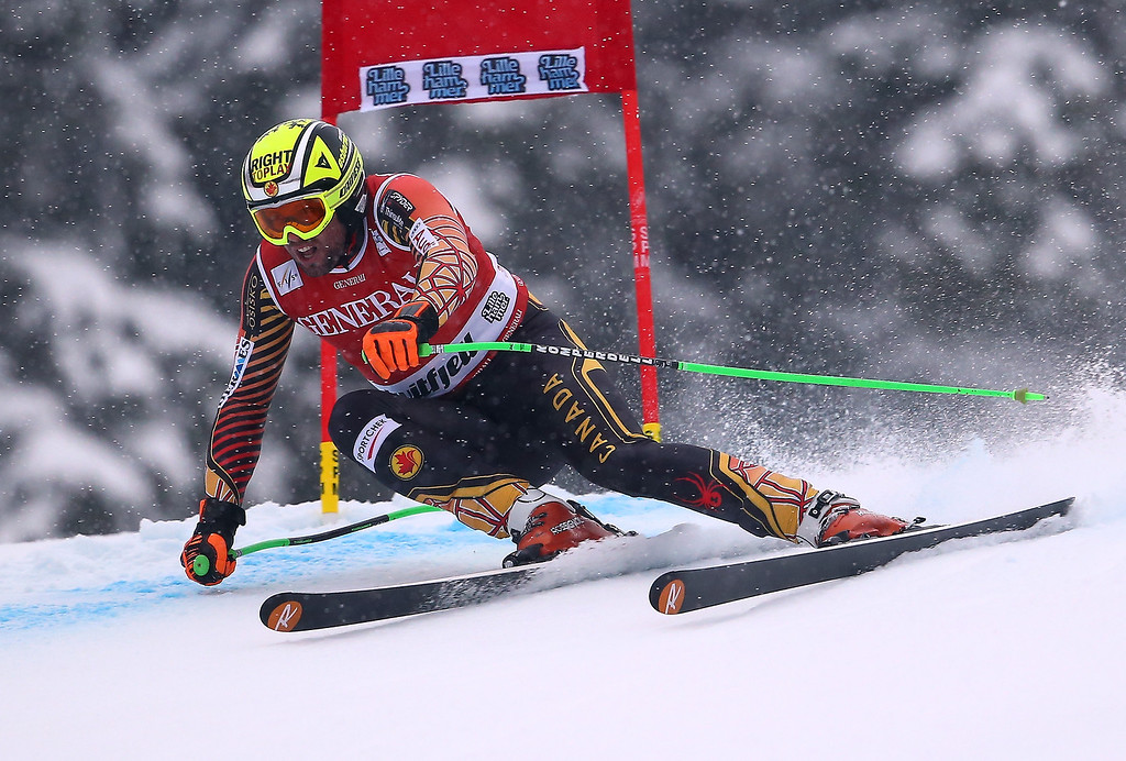. Canada\'s Manuel Osborne- Paradis speeds down the course during an alpine ski, men\'s World Cup super-g, in Kviitfjell, Norway, Sunday, March 2, 2014. (AP Photo/Alessandro Trovati)