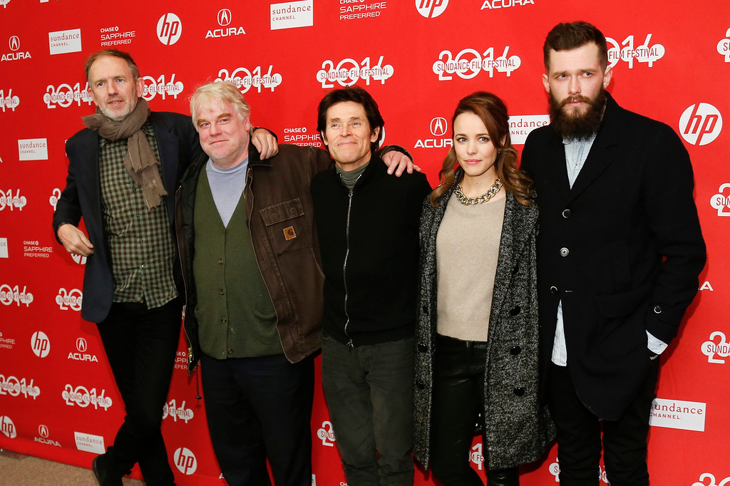 ". From left to right, Director Anton Corbijn and cast members Philip Seymour Hoffman, Willem Dafoe, Rachel McAdams and Grigoriy Dobrygin pose together at the premiere of the film ""A Most Wanted Man\"" during the 2014 Sundance Film Festival, on Sunday, Jan. 19, 2014 in Park City, Utah. (Photo by Danny Moloshok/Invision/AP)"